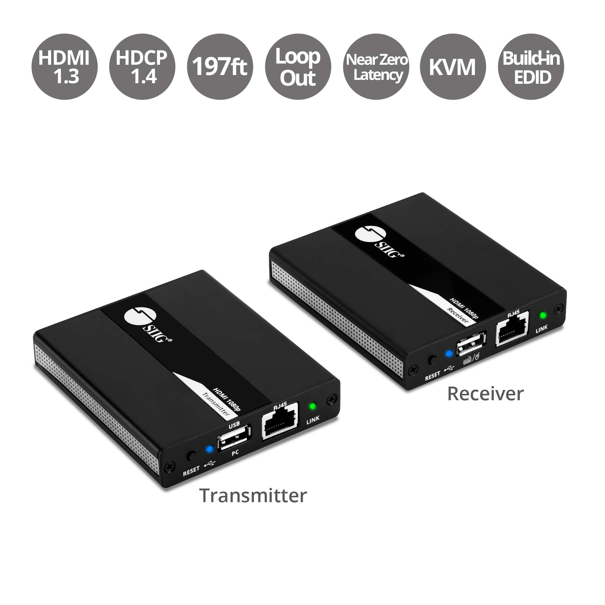 SIIG 1080p HDMI USB KVM Extender Over Cat 5e/6, with PoC Transmitter and Receiver - Near Zero Latency - Signal up to 196ft 60M by SIIG