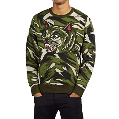 2fc058988 Amazon.com: RIPNDIP Tiger Nerm Knit Sweater - Green Camo: Clothing