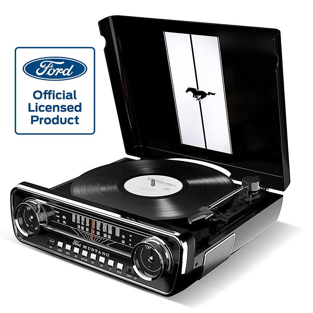 Ion Audio Ford LP-4-in-1 Classic Car Styled Music Center (Mustang LP Black)