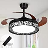 Ohniyou 42'' Retractable Ceiling Fans Indoor with Light and Remote Flush Mount Black Cage Ceiling Fan Light Kit Farmhouse Cha