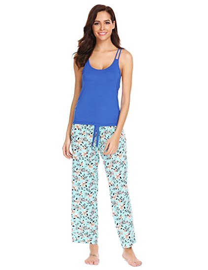 Hindom Teen Girls Sleepwear Set Ladies Cozy Lightweight Floral Printed  Loungewear Set 8375007ad