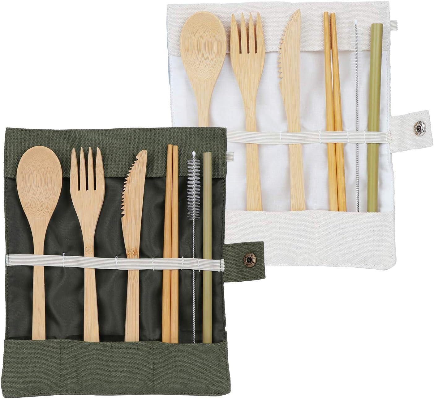 Coolty 2 Juego de Cubiertos de Bambú,Cubiertos Madera Ecológicos,Utensilios Made Incluir Cucharada, Tenedor, Cuchillo, pajitara: Amazon.es: Hogar