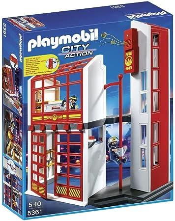 PLAYMOBIL Bomberos - Estación con Alarma, playset (5361): Amazon.es: Juguetes y juegos