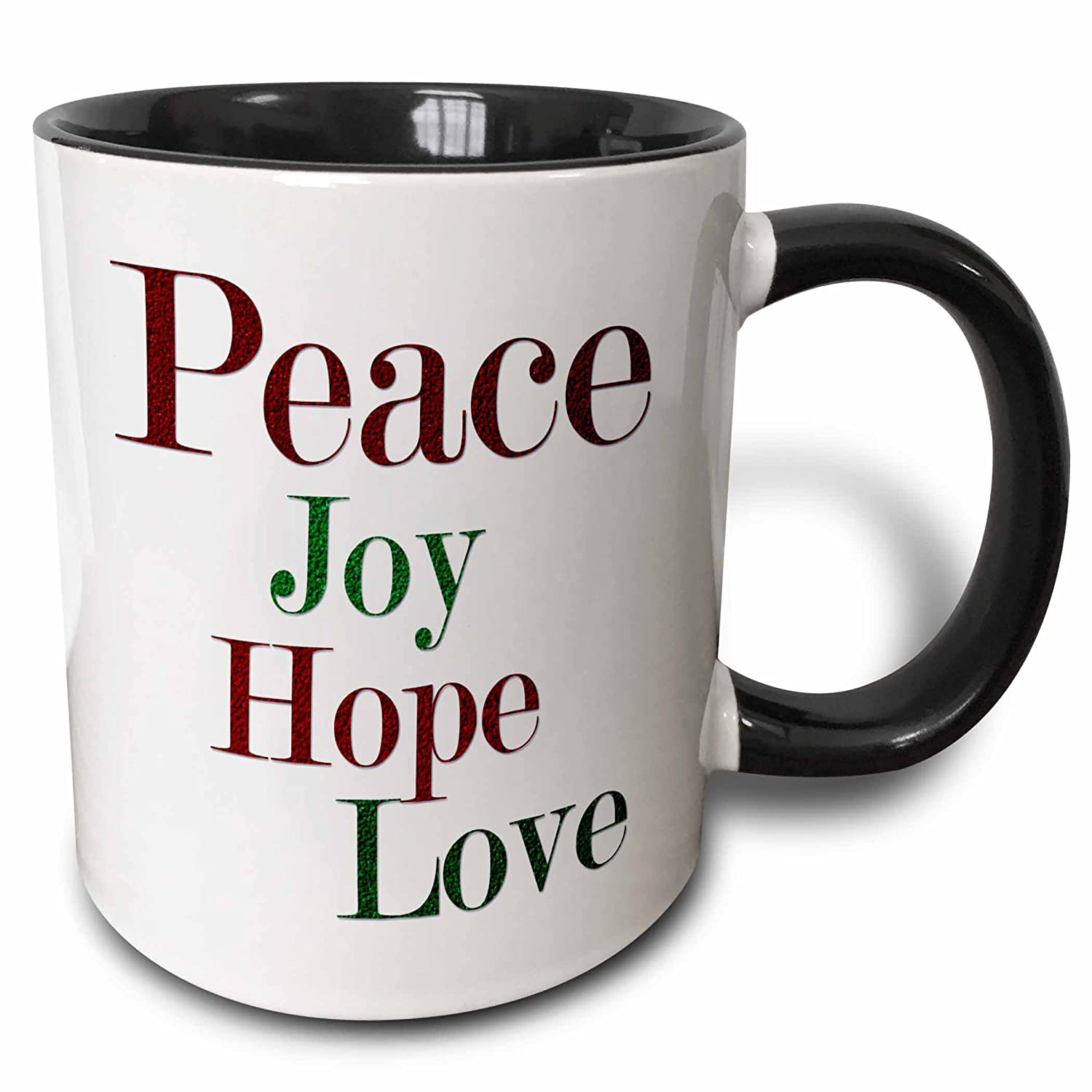 Buy 3drose Anne Marie Baugh Christmas Peace Joy Hope Love Words In Red And Green Glitter Effect 15oz Two Tone Black Mug Mug 217194 9 Online At Low Prices In India Amazon In