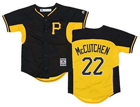 info for 0b09b d1adb Majestic Pittsburgh Pirates Andrew McCutchen #22 MLB Big Boys Team Leader  Jersey, Black