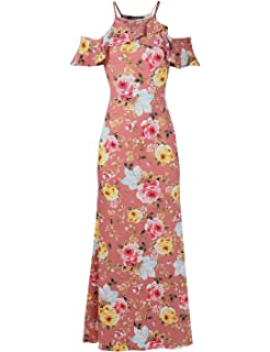 05c5d58cc5 Awesome21 Women Beach Wedding Guest Floral Cold Shoulder Maxi Dress Made in  USA