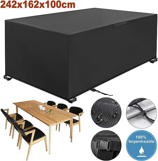 YISSVIC Cubierta de Muebles de Jardín Fundas de Muebles Impermeable Resistente al Polvo Anti-UV Protección Exterior Muebles de Jardín Cubiertas de Mesa y Silla Negro 242x162x100cm: Amazon.es: Jardín