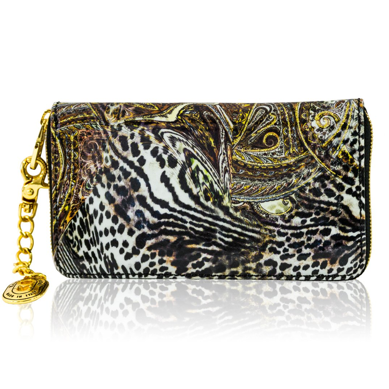 Marino Orlandi Italian Designer Jungle Metallic Glitter Leather Ziparound Wallet Clutch by Marino Orlandi (Image #2)