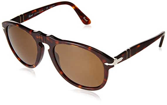 d7bc27bc8307 Persol Men's 0PO0649 24/57 Polarized Round Sunglasses,Havana/Crystal Brown  Polarized Lens