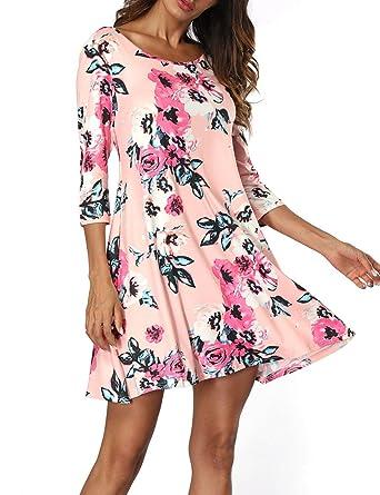 b0269054865 Zaoqee Women s 3 4 Sleeve Summer Dresses Casual Floral Print Scoop Neck  Fashion Loose Dress