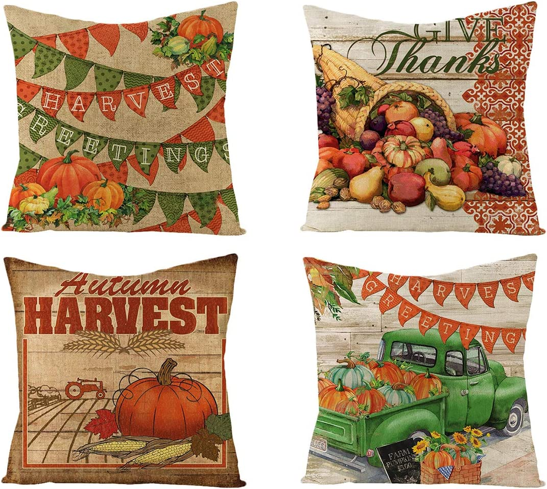 Ceephouge Thanksgiving Pillow Covers 18x18 Set of 4, Fall Pillow Covers Harvest Decorations Throw Pillow Cover Cushion, Indoor Ourdoor Farmhouse Pumpkin Thanksgiving Decorations for Home