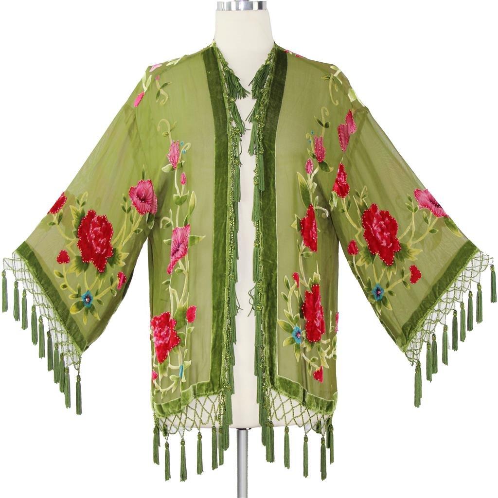 Aris A Women 100% Silk Velvet Vintage Floral Hand Beads Burnout Kimono Duster VJ387A-S BKCHILD