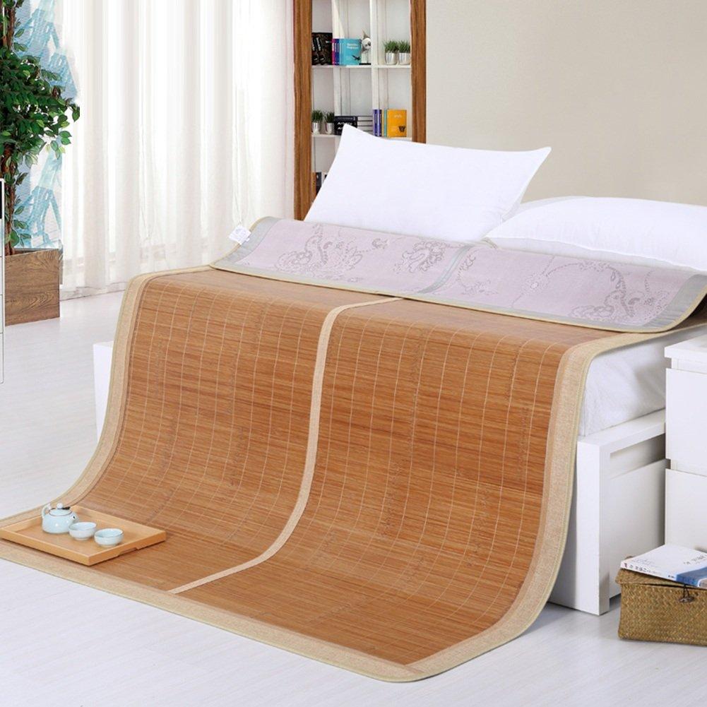 LITT クールマットレス、竹製ストローマット夏用マットベッドマット折りたたみ式厚い両面使用家庭用多機能、竹/氷シルク、1.5m 竹クールマットレス B07SQ1NNKN