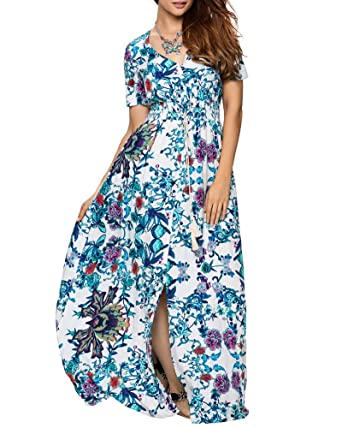 1e3bb81df36 Aofur Women Casual Floral Split Rayon Maxi Beach Dress Evening Wedding  Party Plus Size 3X-S at Amazon Women s Clothing store