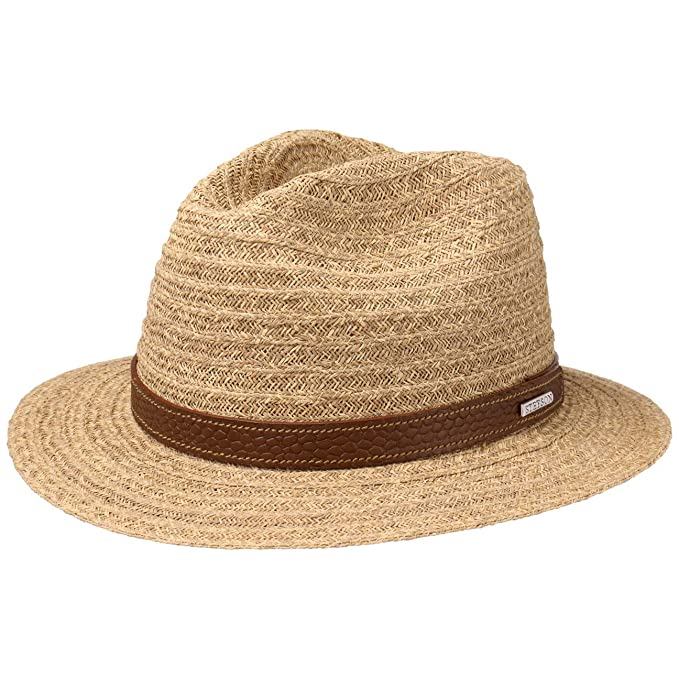 c7e11611f0f135 Stetson Barnell Traveller Raffia Hat Men | Straw Summer Sun with Leather  Trim Spring-Summer: Amazon.co.uk: Clothing