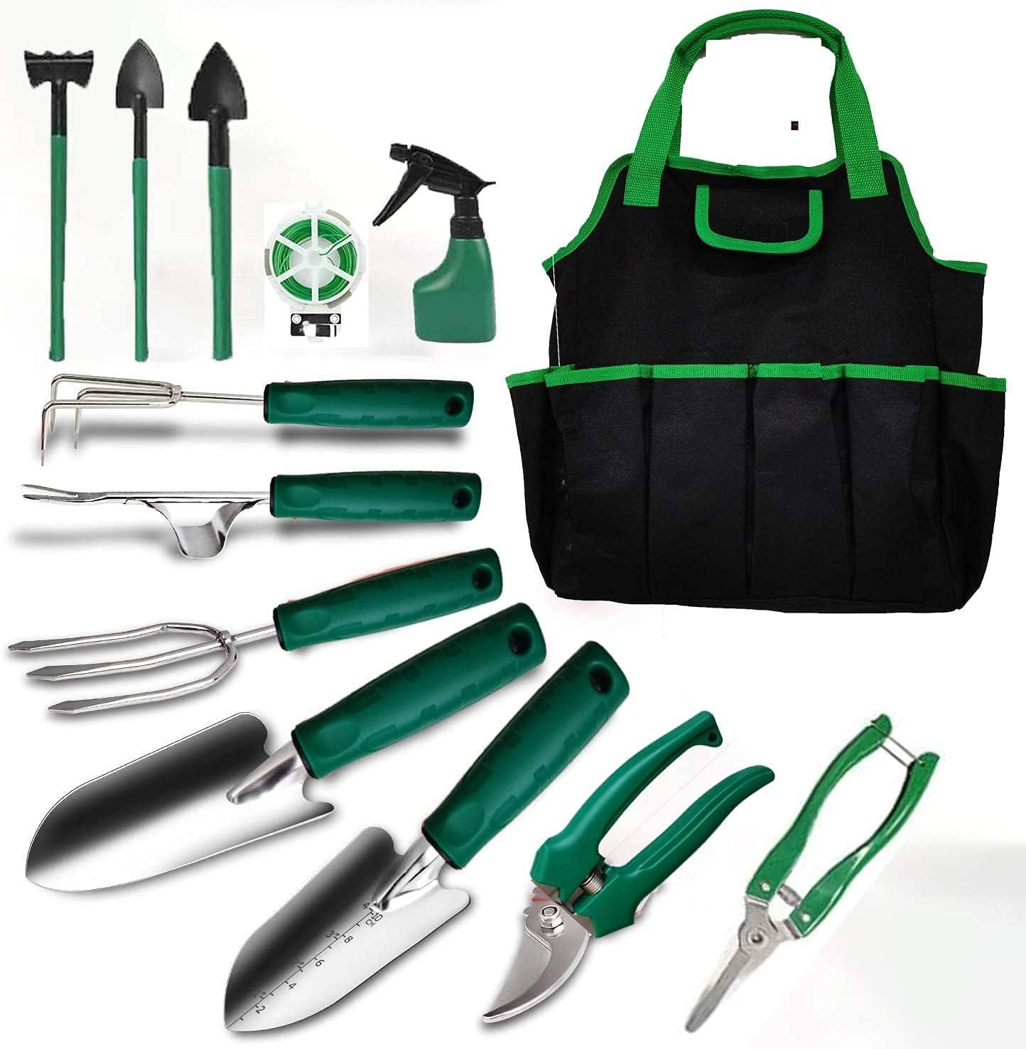 TOORGGOO Gardening Tools Set with Storage Pocket, 13 Piece Stainless Heavy Duty Hand Garden Tools Kit,Gardening Gifts for Mother Women Men Gardener.(Green)