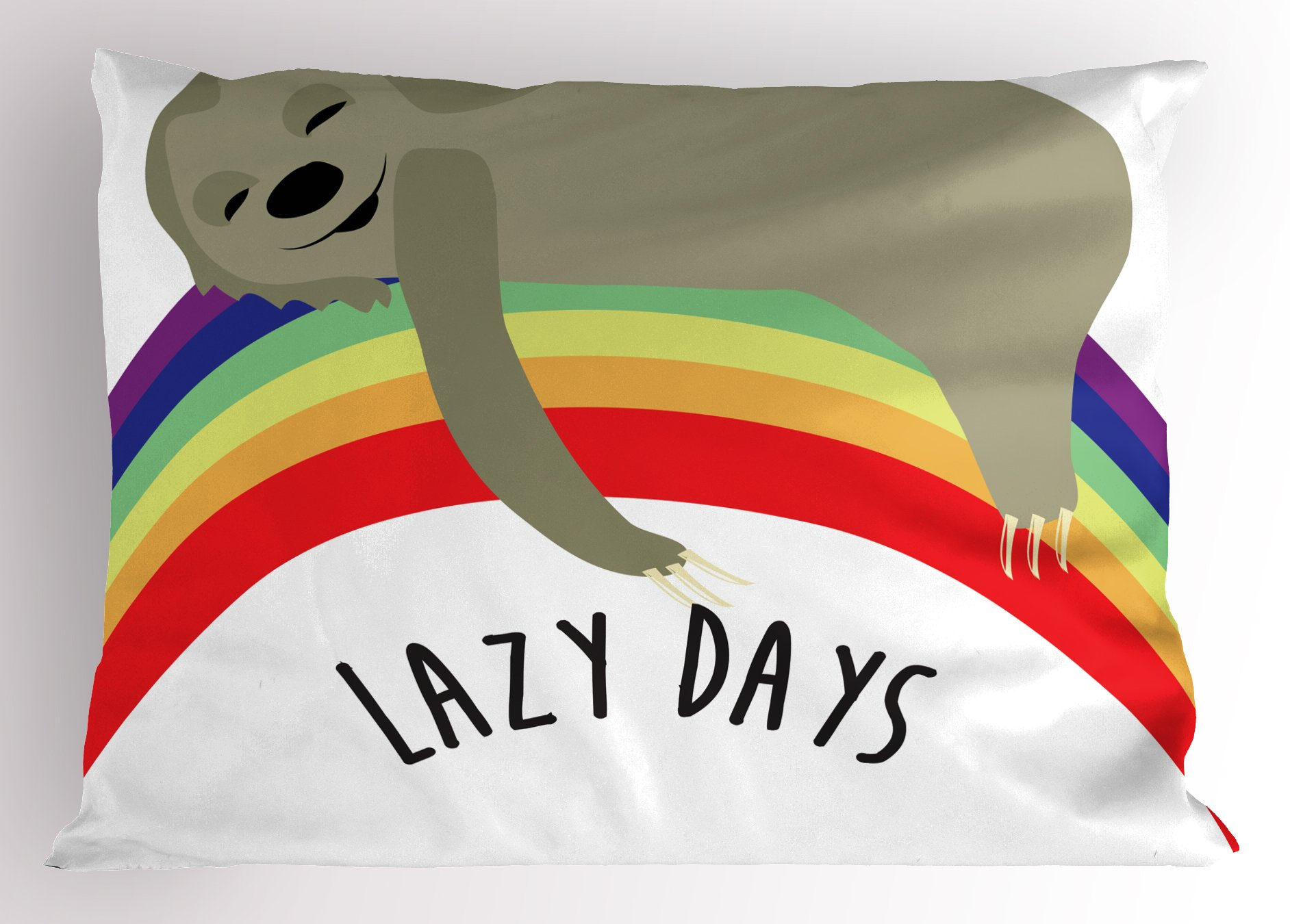 Ambesonne Sloth Pillow Sham, Lazy Days Phrase with Carefree Sloth Figure on Rainbow Happiness Relaxation Theme, Decorative Standard Queen Size Printed Pillowcase, 30 X 20 Inches, Multicolor
