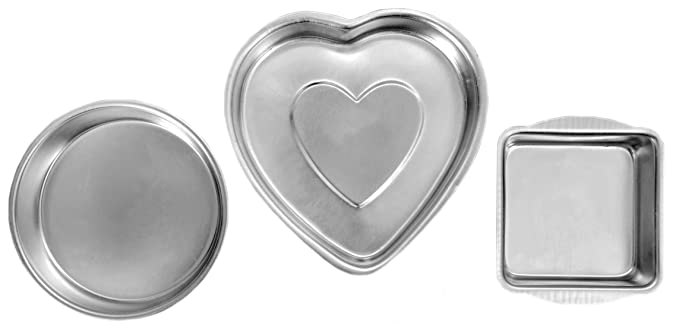 EVER GOLD Aluminum Cake Mould, Set of 3, Silver