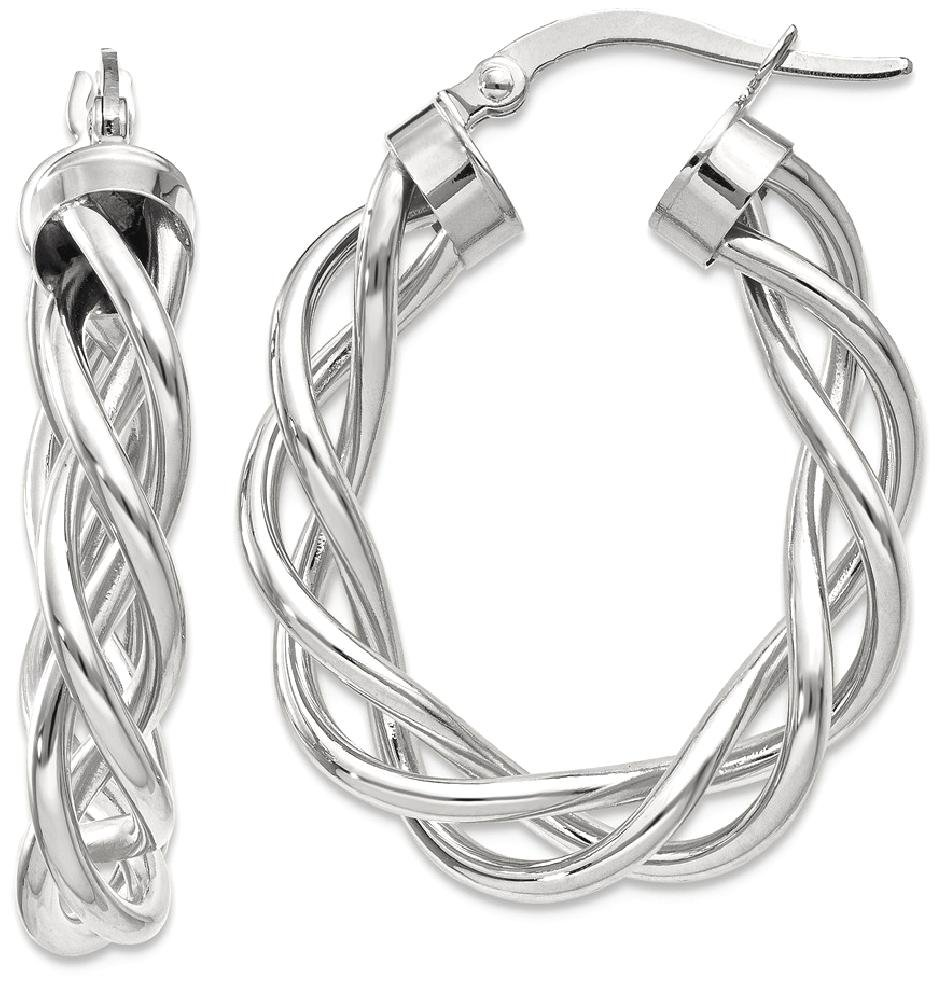 ICE CARATS 14k White Gold Twisted Hoop Earrings Ear Hoops Set Fine Jewelry Gift Set For Women Heart by ICE CARATS (Image #1)