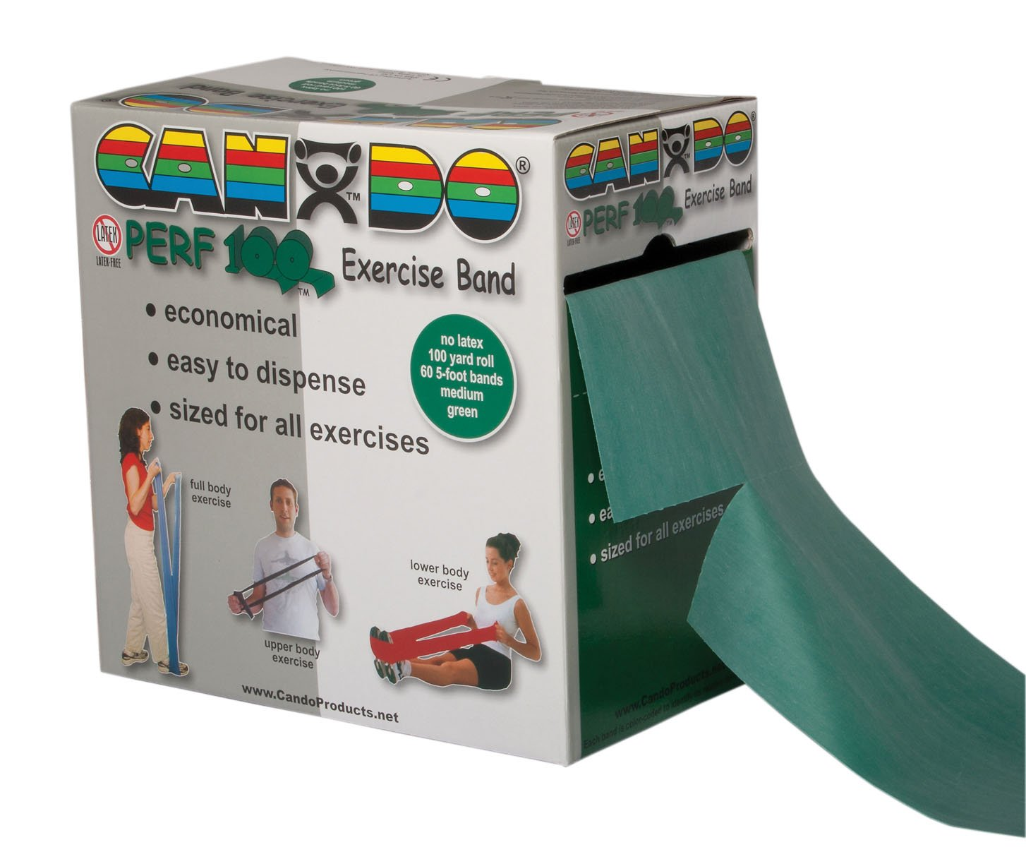 CanDo Perforated Exercise Band, Green