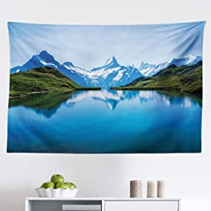 Lunarable Nature Tapestry, Famous Majestic Snowy Peaks and Lake Image High Hills Swiss Alps in Northern Europe, Fabric Wall Hanging Decor for Bedroom Living Room Dorm, 45