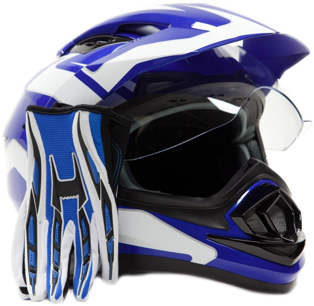 Dual Sport Helmet Combo w/Gloves - Off Road Motocross UTV ATV Motorcycle Enduro - Blue - Small