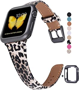 JSGJMY Genuine Leather Band Compatible with Apple Watch 38mm 40mm 42mm 44mm Women Slim Thin Strap for iWatch Series 5/4/3/2/1 (Leopard with Space Grey Clasp, 42mm/44mm S/M)