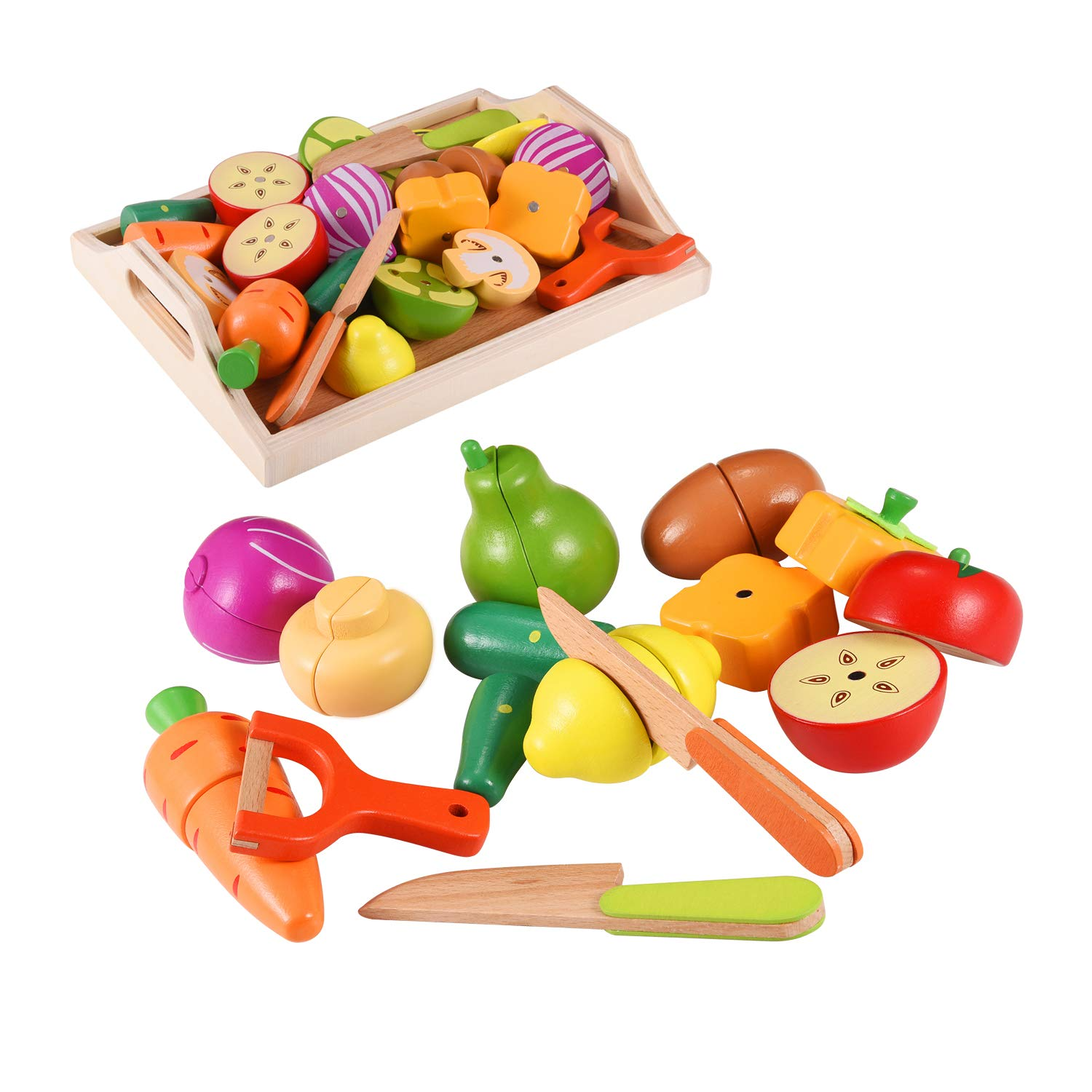 CARLORBO Wooden Toys Food for Kids Kitchen - Play Food Cutting Fruits and Vegetables Set for Pretend Role Play, Learning Toys Gift for Kids 3 Years up