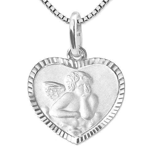 CLEVER SCHMUCK-SET Silberner Anhänger Herz 10 x 11 mm mit Engel matt mit Rand glänzend diamantiert und Rückseite