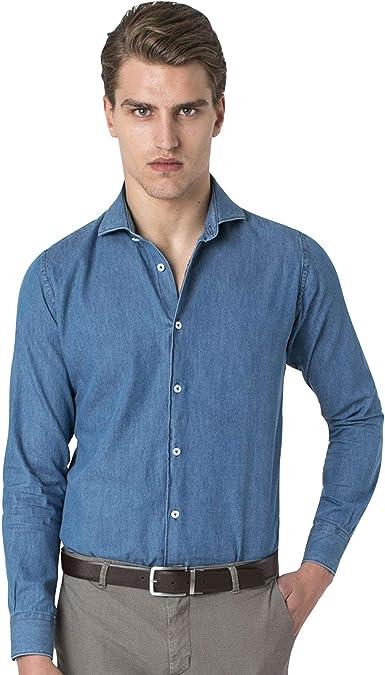 Hitch Man - Camisa Vaquera para Hombre Turquesa 38: Amazon.es ...
