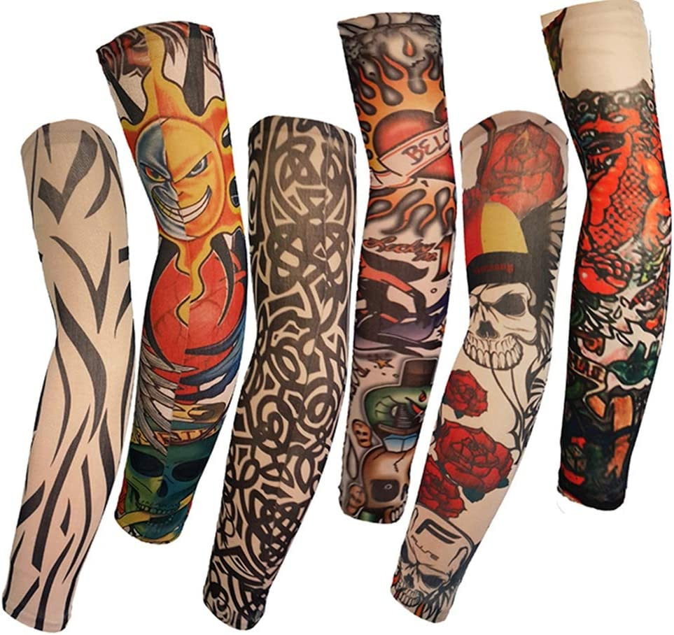 W&Z 6 unids Tatuaje Mangas Falso Tatuaje Brazo Cubre Tatuajes ...