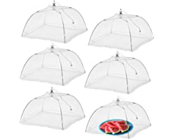 Simply Genius (6 pack) Large and Tall 17x17 Pop-Up Mesh Food Covers Tent Umbrella for Outdoors, Screen Tents, Parties Picnics