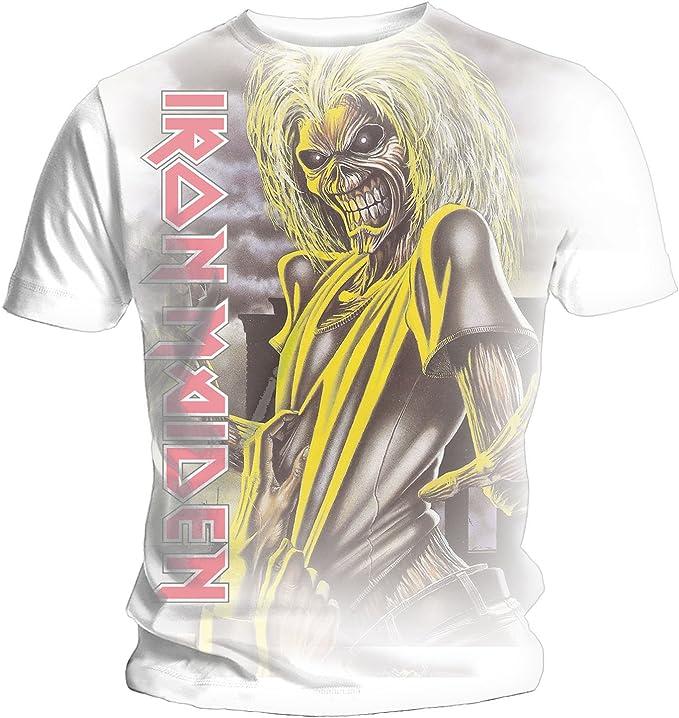 Iron Maiden Killers Vertical Logo - Camiseta para Hombre, Color Blanco Blanco Blanco M: Amazon.es: Ropa y accesorios