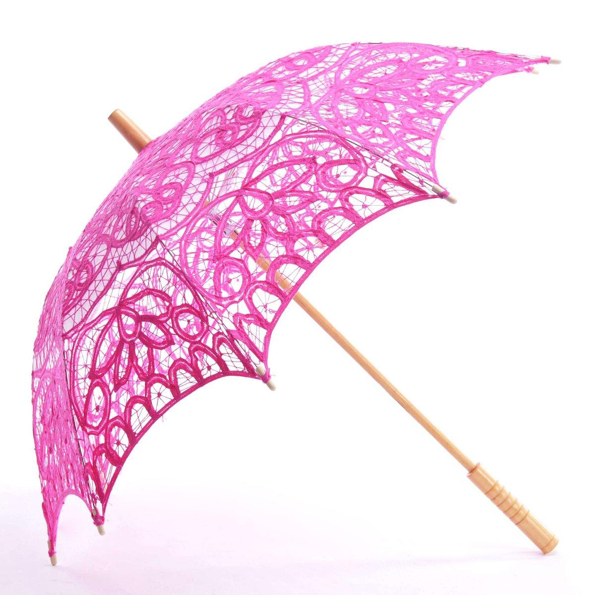 Topwedding Classic Cotton Lace Parasol Umbrella Bridal Shower Decoration, Fuschia by Topwedding (Image #1)