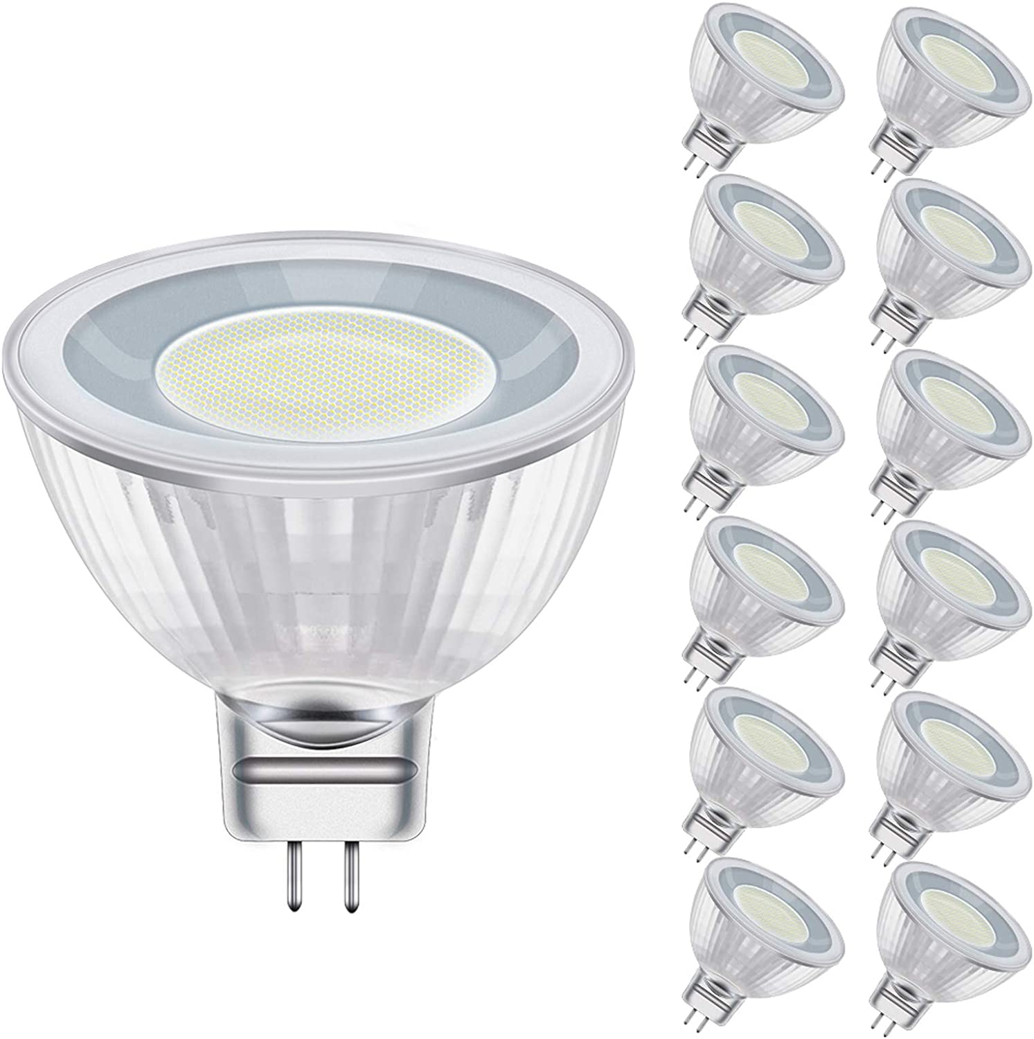 Dimmable MR16 LED Bulb, 6W=50W Equivalent LED Halogen Replacement Bulbs, CRI 90+, GU5.3 Bi-Pin Base, 3000K Warm White, Energy Star and UL Listed,12 Pack