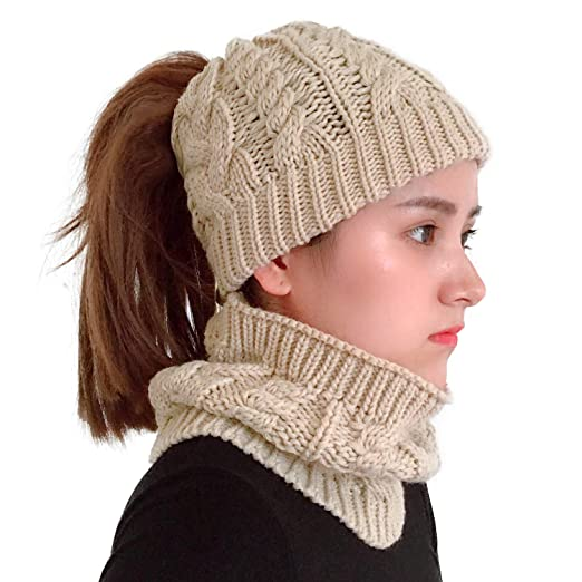 XYIYI Womens Girls Knit Infinity Scarf and Slouchy Messy Bun Ponytail Beanie  Hats Matching Winter Warm f8e0e9d7cc1