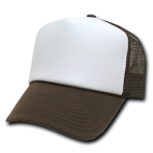 54855bfd1c043 Amazon.com: DECKY Two Tone Trucker Mesh Caps Plain Baseball Hat, Brown /  White, Adjustable: Clothing