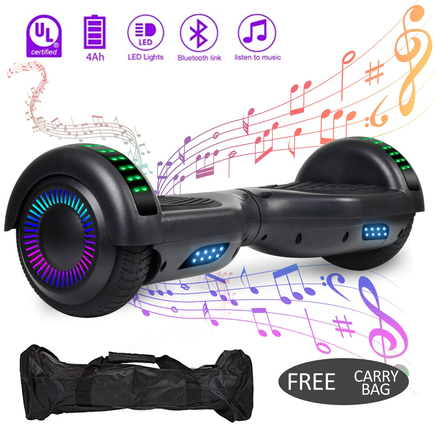 VEVELINE Hoverboard UL2272 Certified 6.5 inch Self Balancing Scooter with Colorful Flash Wheel Top LED Light, Built-in Bluetooth Speaker,Hover Board for Kids Adults Free Carry Bag(Blcak)