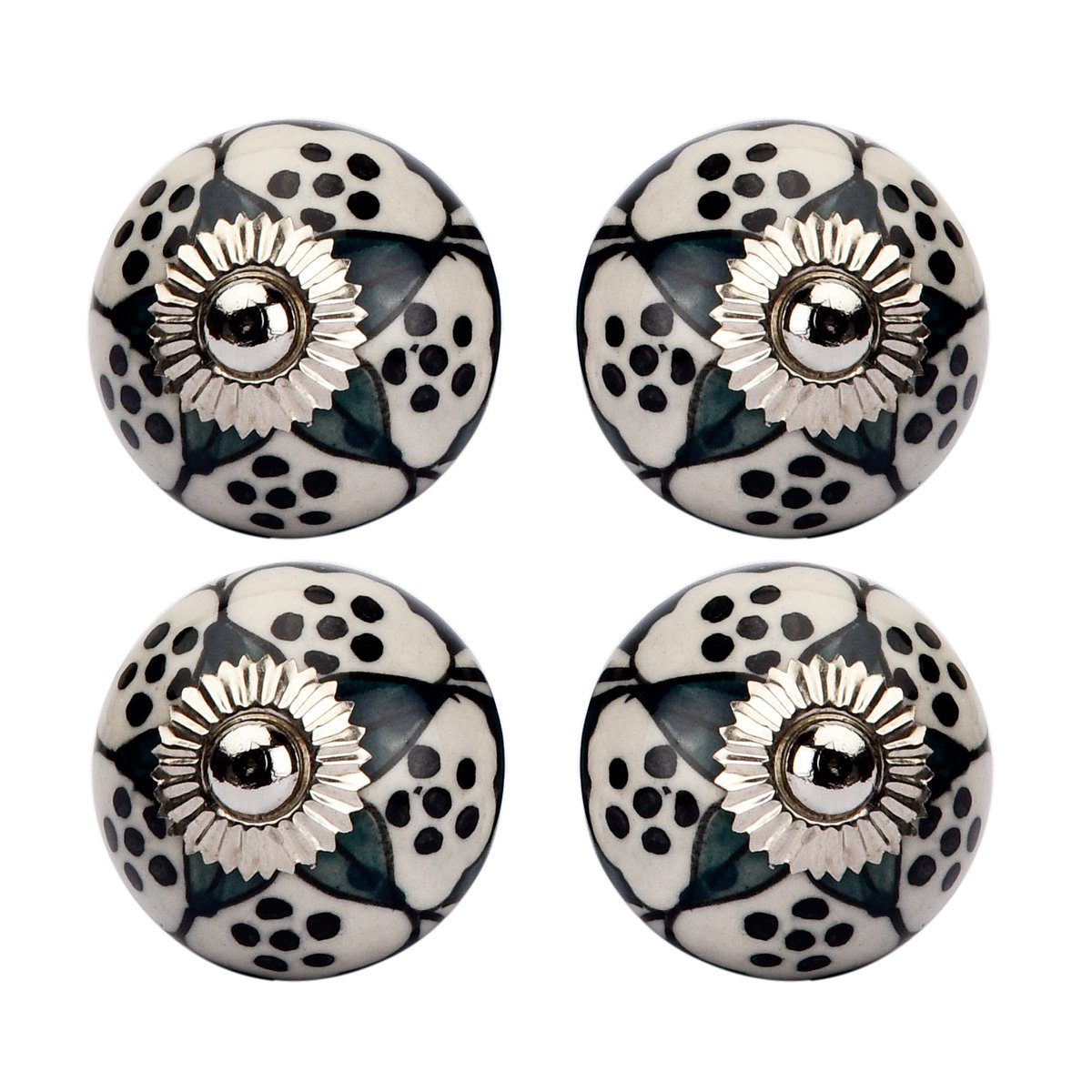 Ceramic Door Knobs Kitchen Cupboard Knobs Drawer Pulls Cabinet Knobs Shabby Chic Knobs Decorative Indian Handicraft Knobs and Pulls 4 Pcs. (White) Amber Shine