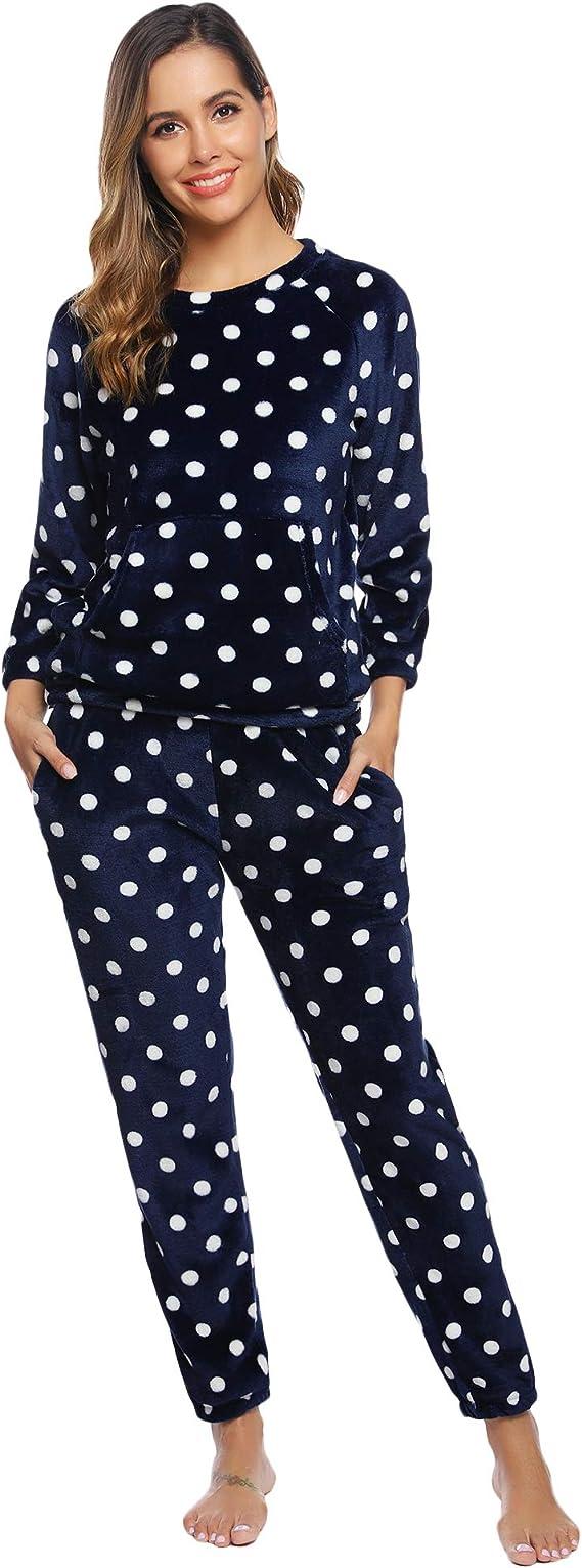 Hawiton Schlafanzug Damen Pyjama Lang Pyjamas Set Star Nachtw/äsche Set Baumwolle Zweiteiliger mit Damen Pyjamahose und Langarm Shirt Rundhals Sleepwear f/ür Herbst Winter