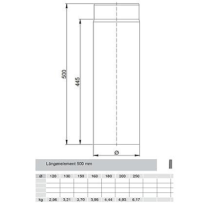 TUBO DE HUMOS / Tubo De Estufa/Elemento Largo reducible 500mm FERRO Ø 130mm