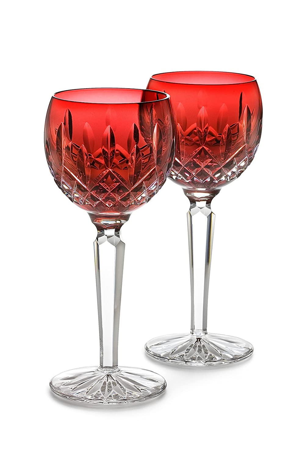Christmas Tablescape Décor - Waterford Crystal Lismore crimson red hock glasses - Set of 2