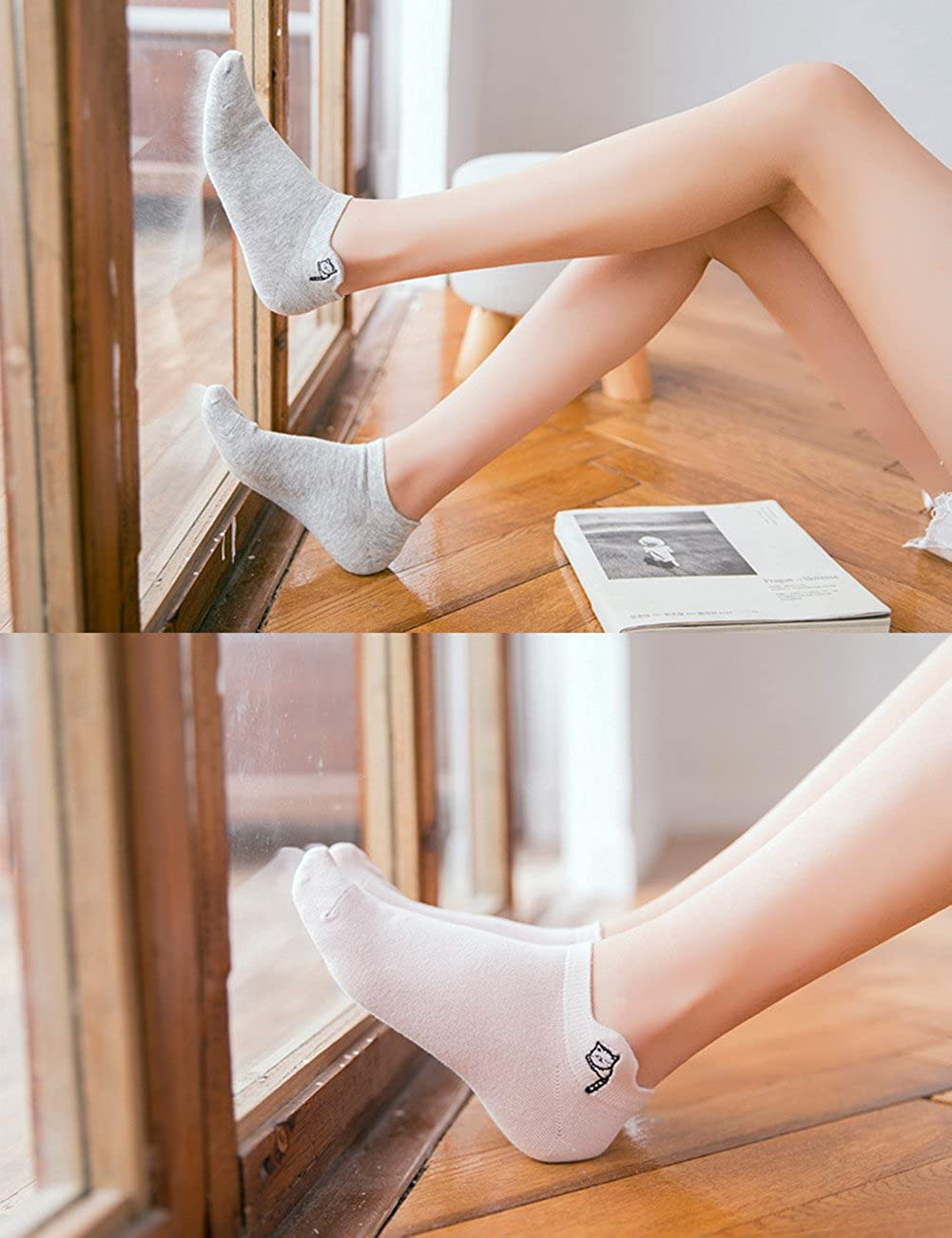 Lantina Women Short Sneakers Socks Low Cut No Show Cotton Invisible Sock Boat Line 5 Pairs