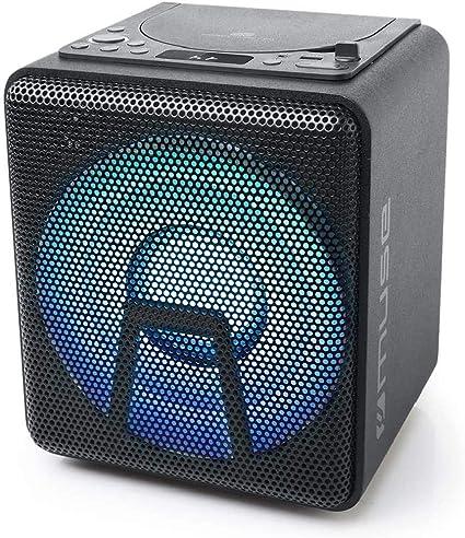 Muse M 1918 Dj Bluetooth Party Lautsprecher Mit Akku Cd Player Und Licht Effekten Usb Aux Mikrofoneingang 100 Watt Schwarz Audio Hifi