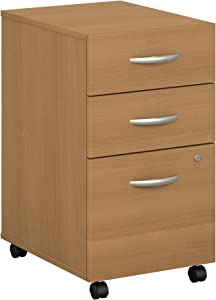 Bush Business Furniture Series C 3 Drawer Mobile File Cabinet in Light Oak