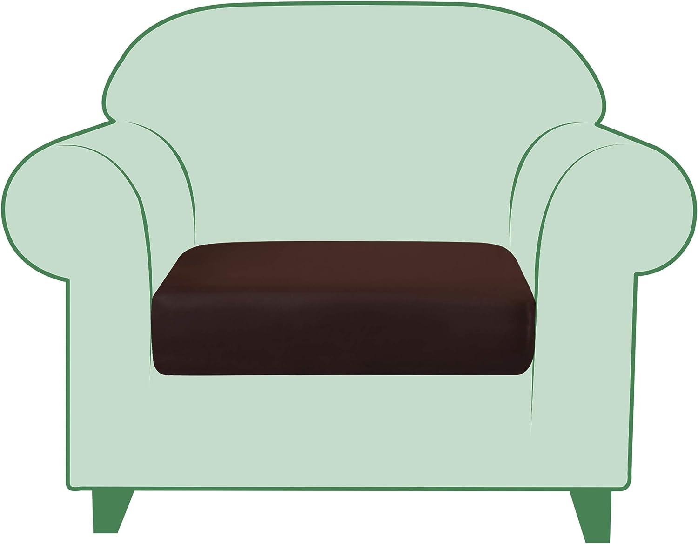 TIKAMI Stretch Cushion Cover PU Leather Seat Cushion Cover Outdoor Furniture Protector Sofa Slipcover Waterproof Cushion Cover for 1 Seater(Chocolate)