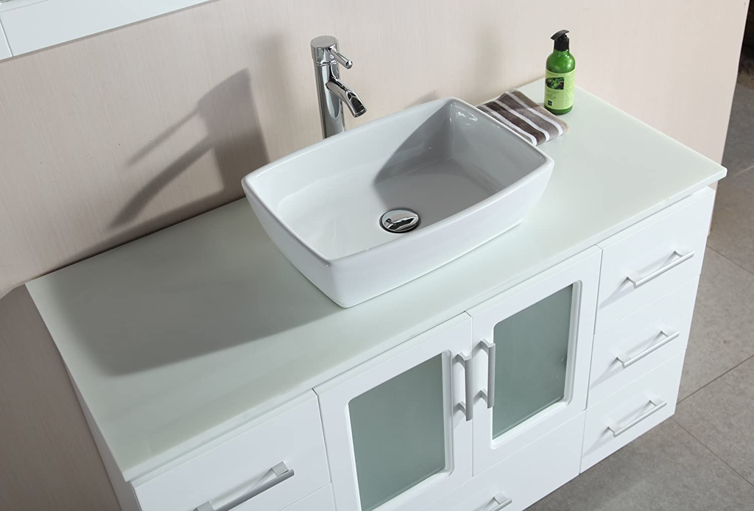 Bathroom available in 5 finishes vessel bathroom sinks msrp 425 - Design Element Stanton Single Vessel Sink Vanity Set With White Finish 48 Inch Amazon Com
