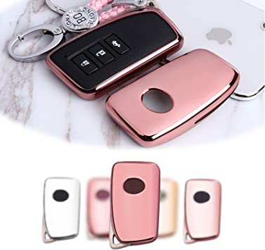 Pink MAXMILO Soft TPU Case Cover Protector Case for Lexus Key Fob Car Remote Key Fob Case for for Lexus RX CT GS NX ES RC RCF GSF Fob Remote Key+Keychain