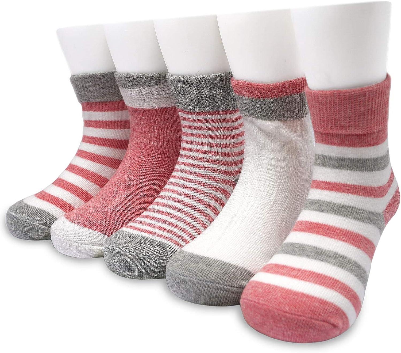Adorel Little Girls Short Socks Cotton Stripe Pack of 10