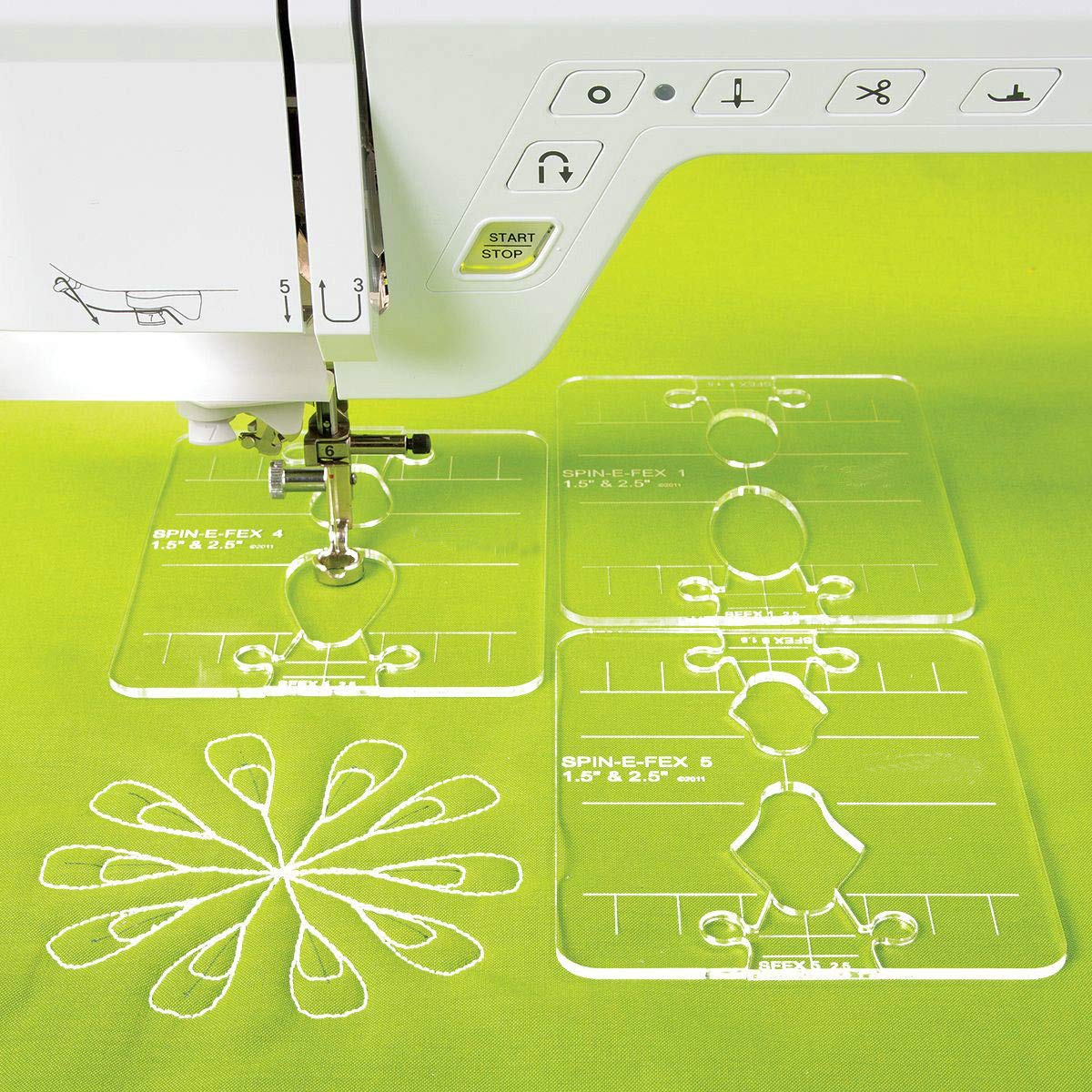 YICBOR Spin-E-FEX Feather 8 Collection a Set of 4 Templates for Low Shank Domestic Sewing Machines # SF-4# 1 Set=4 pcs